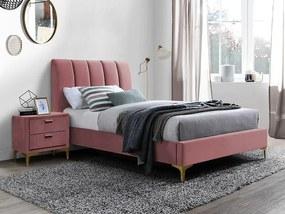 Pat Glorya roz/auriu din catifea - 90x200 cm
