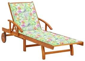3061614 vidaXL Șezlong de grădină cu pernă, lemn masiv de acacia