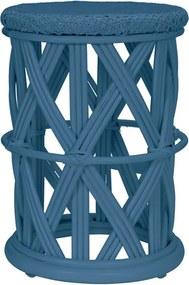 Taburet rotund albastru din ratan 30 cm Clu-Clu Kids Depot