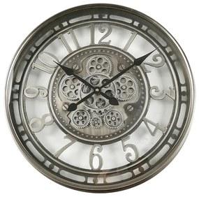 Ceas de perete metal si sticla argintiu 54cm
