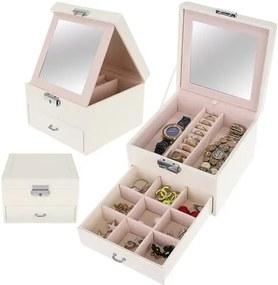 Cutie de bijuterii cu sistem de închidere cu cheie, 8897 Alb