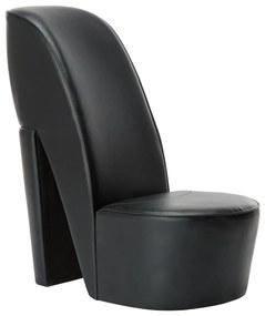 248647 vidaXL Scaun, design toc înalt, negru, piele ecologică