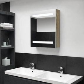 326485 vidaXL Dulap de baie cu oglindă și LED, alb și stejar, 50x14x60 cm