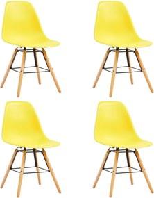 248269 vidaXL Scaune de bucătărie, 4 buc., galben, plastic