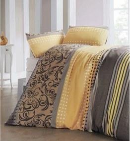 Lenjerie de pat și cearșaf din amestec de bumbac pentru pat dublu Miranda Honey, 200 x 220 cm