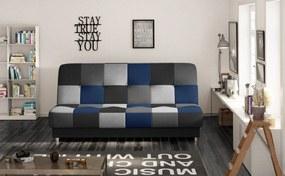 Canapea extensibila 2 locuri tapitata cu piele ecologica Cayo Albastru 192x90x90 cm