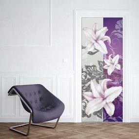 GLIX Tapet netesute pe usă - Floral Pattern With Swirls Purple