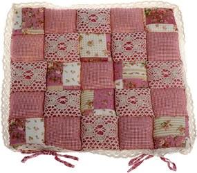 Pernă scaun Patchwork, roz, 40 x 40 cm