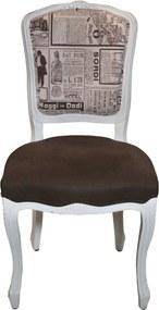 Scaun Livio din lemn alb antichizat si tapiterie la alegere 50x47x95 cm