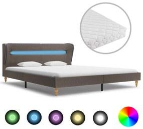 278375 vidaXL Pat cu LED și saltea, gri taupe, 180 x 200 cm, material textil
