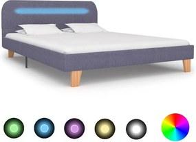 Cadru pat cu LED-uri, gri deschis, 140x200 cm, material textil