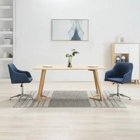 283483 vidaXL Scaune de sufragerie pivotante, 2 buc., albastru, textil