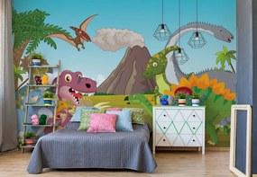 Fototapet GLIX - Cartoon Dinosaurs + adeziv GRATUIT Papírová tapeta  - 368x280 cm