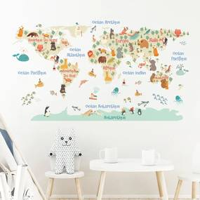 Autocolant de perete Ambiance Pastel World Map