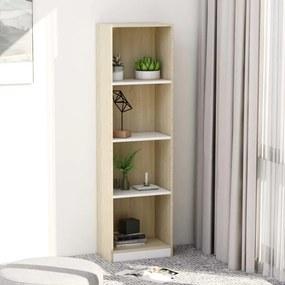 800842 vidaXL Bibliotecă cu 4 rafturi, alb & stejar Sonoma, 40x24x142 cm, PAL