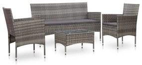 45890 vidaXL Set mobilier de grădină cu perne, 4 piese, gri, poliratan