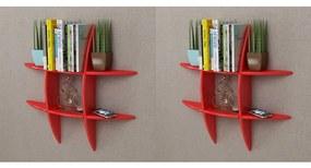 Rafturi de perete, 2 buc., roșu
