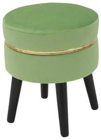 Taburet Paris, lemn de pin burete poliester, verde auriu, O CM 35X40.5 cm