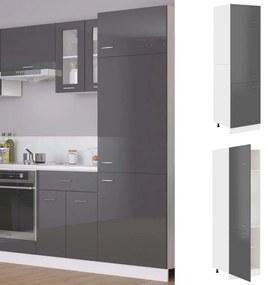 802545 vidaXL Dulap pentru frigider, gri extralucios, 60 x 57 x 207 cm, PAL