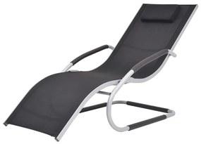 47777 vidaXL Șezlong cu pernă, negru, aluminiu și textilenă