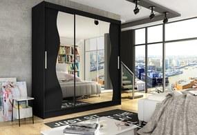 Expedo Dulap dormitor cu uşi glisante LUKAS S cu oglindă, 250x215x58, negru mat