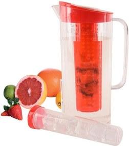 Carafă din plastic cu compartiment pentru gheaţă şi fructe