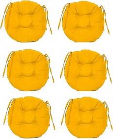 Set Perne decorative rotunde, pentru scaun de bucatarie sau terasa, diametrul 35cm, culoare galben, 6 buc/set