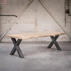 Masă industrială dreptunghiulară 180x105x6 stejar natural cu picioare X negre - Ciocănitor