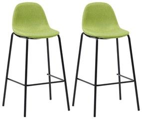 281533 vidaXL Scaune de bar, 2 buc., verde, material textil