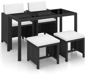 42521 vidaXL Set mobilier de exterior cu perne, 5 piese, negru, poliratan