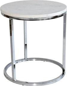 Măsuță auxiliară RGE Accent, blat din marmură albă și structură cromată, ⌀ 50 cm