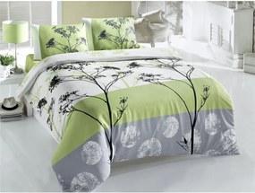 Lenjerie de pat cu cearșaf pentru pat dublu Blezza Green, 220 x 200 cm, verde