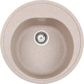 Chiuveta rotunda Teka Centroval 45 TG, Sandbeige, tegranit, 51 cm diametru