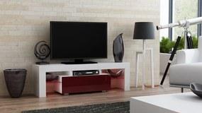 Mazzoni Masă RTV MILANO 130 + LED albă, cu sertar cireș