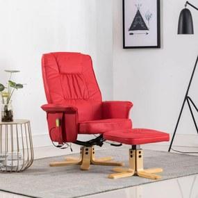 248630 vidaXL Fotoliu de masaj rabatabil cu taburet, roșu, piele ecologică