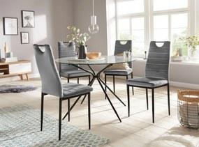 Set de 2 scaune Mandy, catifea/metal, gri/negru, 48 x 53 x 98 cm