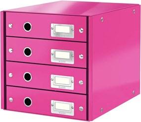 Cutie cu 4 compartimente Leitz Office, lungime 36 cm, roz