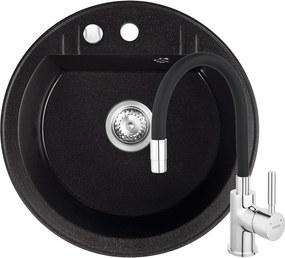 Set Chiuveta Ferro Mezzo II 1 Cuva Rotunda 510 x 510 mm si Baterie Ferro Zumba cu Pipa Flexibila Grafit