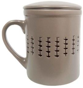 Cana cu infuzor si capac, ceramica si inox, 320 ML, Gri