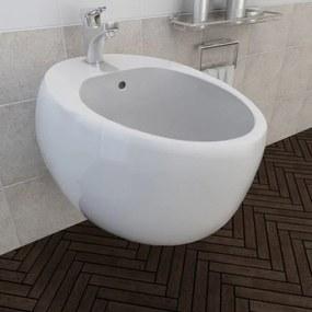 Bideu ceramic de perete, alb