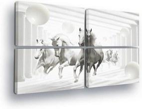 GLIX Tablou - Horses in the White Tunnel 4 x 60x40 cm