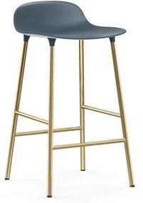 Scaun de Bar Form Albastru cu Picioare Metalice Aurii NORMANN COPENHAGEN - Plastic Albastru Inaltime (77cm) x Latime (42.5cm) x Dia (42.5cm)
