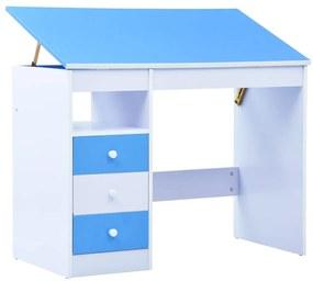287446 vidaXL Birou de studiu & desenat pentru copii rabatabil albastru & alb