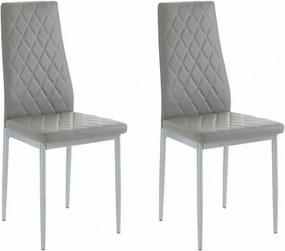 Set de 2 scaune Brooke piele sintetica/metal, gri, 42 x 53 x 96 cm