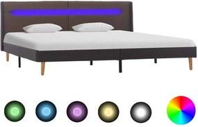 Cadru de pat cu LED, gri taupe, 160x200 cm, material textil