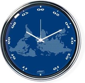 Ceas invers cu o hartă mondială 2 - albastru, diametru 32 cm | DSGN