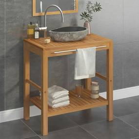 246496 vidaXL Dulap de toaletă, lemn masiv de tec, chiuvetă din piatră de râu