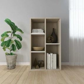 800167 vidaXL Bibliotecă/Servantă, alb și stejar sonoma, 50x25x80 cm, PAL