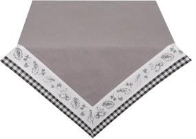 Fata de masa din bumbac gri alb 150 cm x 150 cm