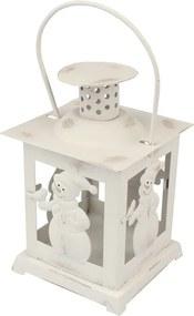 Felinar de Crăciun Om de zăpadă, alb